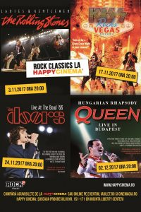 Rock Classics: concerte The Rolling Stones, KISS, The Doors și Queen în proiecție la Happy Cinema București